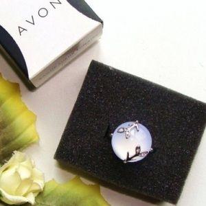 AVON Moon Shimmer Blue Silver Tone Ring